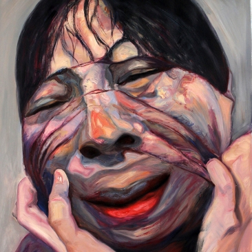 Stripping Off Face-2, 2015, oil on canvas, 150 × 130 cm (59 × 51 in)