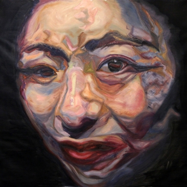 Double Faces Post Cosmetic Surgery, 2015, oil on canvas, 150 × 145 cm (57 × 51 in)
